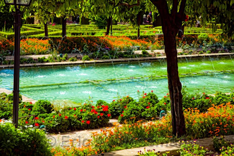 Gardens, Alcázar de los Reyes Católicos. Córdoba, Spain.