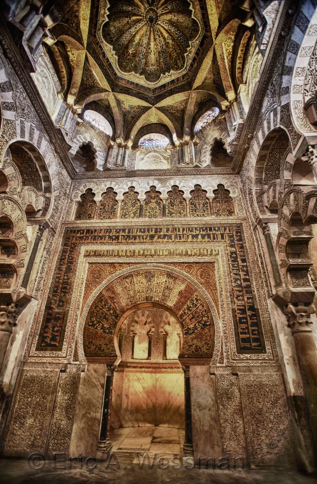 Mezquita Interior and Mihrab, Córdoba, Spain.