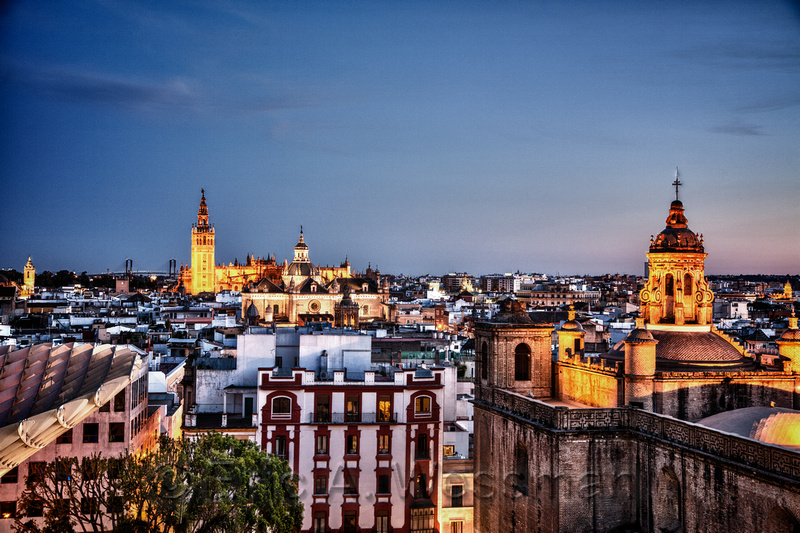 Seville Skyline at Dusk, Spain.