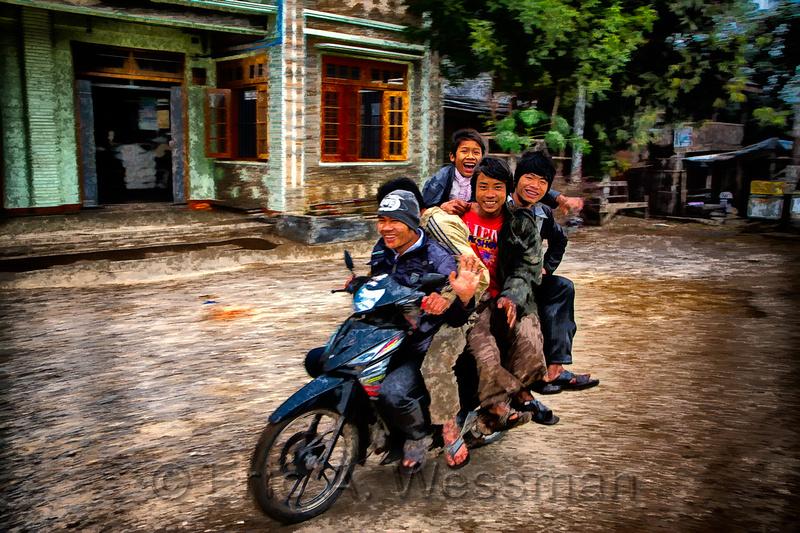 Five men on a motorcycle, Hsipaw, Shan State, Myanmar (Burma)