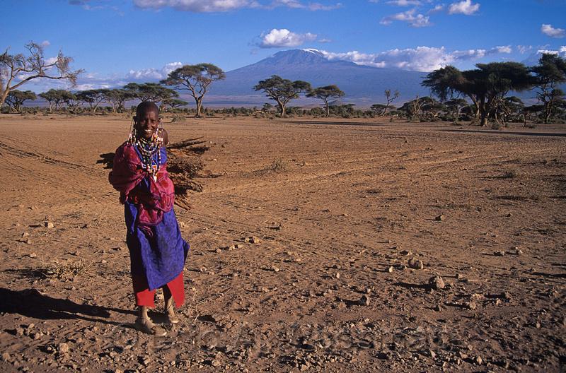 Maasai girl collects firewood, Mount Kilimanjaro in the background. Amboseli National Park, Kenya.