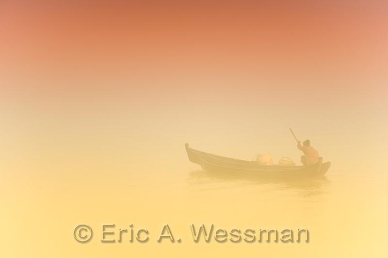 Misty Morning Boat-Yellow