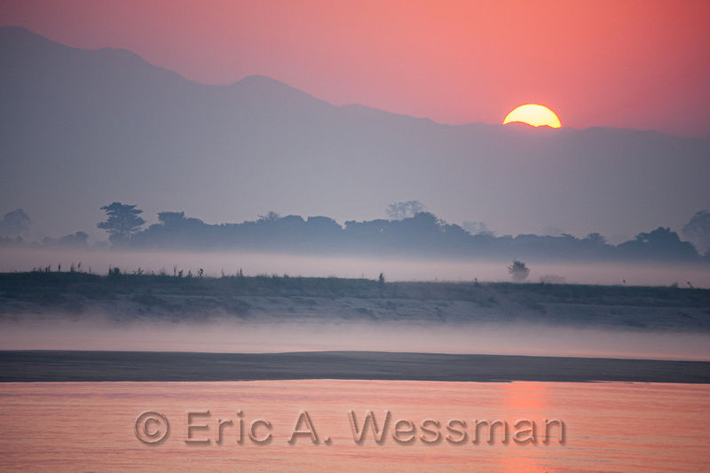 Sunrise along Ayeyarwady River, Myanmar (Burma).