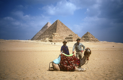 Eric A. Wessman with camel at Pyramids of Giza, Egypt