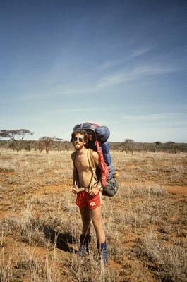 Photographer Eric A. Wessman backpacking in the Nguruman Escarpement, Kenya.