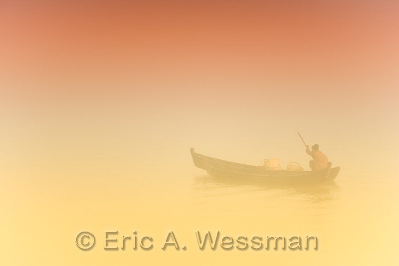 Misty Morning Boat-Yellow